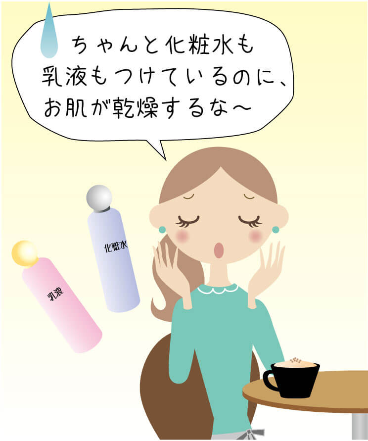ちゃんと化粧水も乳液もつけてスキンケアしているのに乾くな〜